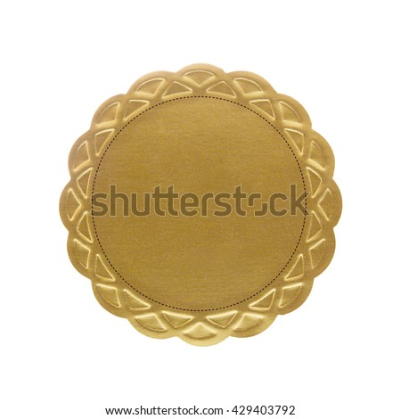 Blank gold seal label with clipping path included. - stock photo