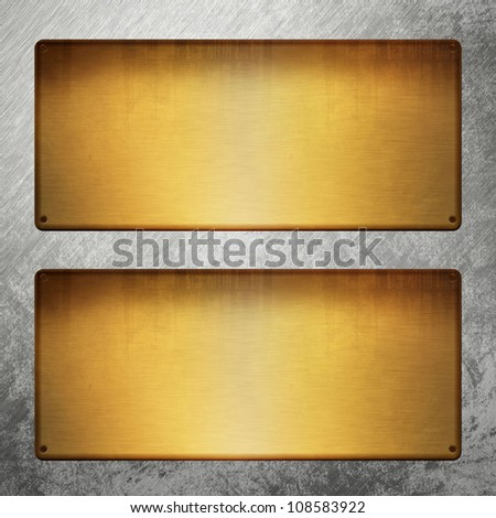 blank golden table on silver metal - stock photo