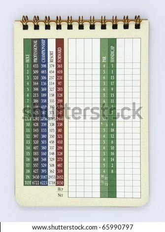 Blank Golf Score Card - stock photo