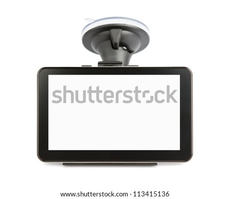 Blank GPS device isolated on white background with clipping path for the screen - stock photo