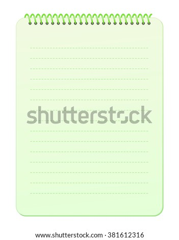 Blank Gradient Pastel Green Top Wirebound Notebook Paper with Dashed Lines isolated on White Background Illustration
