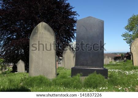 Blank Gravestones - stock photo