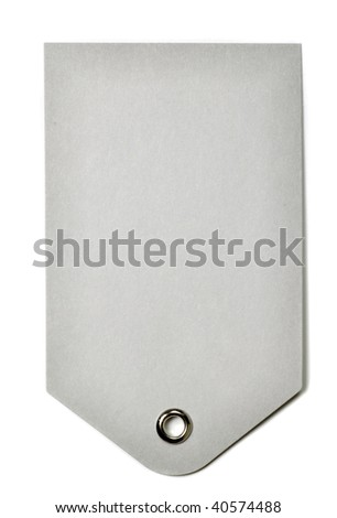 Blank gray gift tag isolated on a white background - stock photo