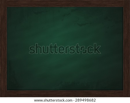 Blank green chalkboard, blackboard texture with copy space around wooden block