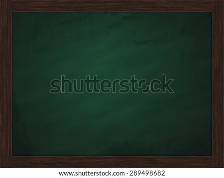 Blank green chalkboard, blackboard texture with copy space around wooden block - stock photo