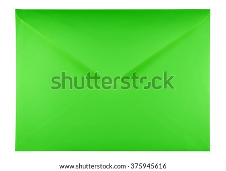 Blank green envelope isolated on white background with clipping path - stock photo