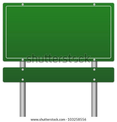 Blank Green Information Sign Isolate on White Background