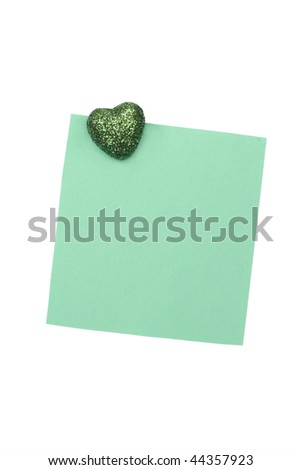blank green note with magnet - stock photo
