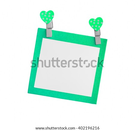 Blank green paper isolated use for insert text isolated on white background. - stock photo