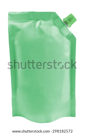 Blank green plastic pouch package with batcher isolated on white background - stock photo
