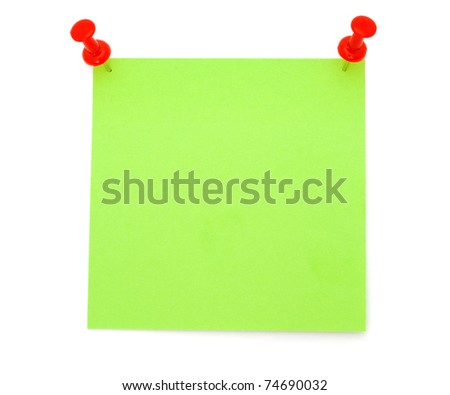 Blank Green Post-it Note - stock photo