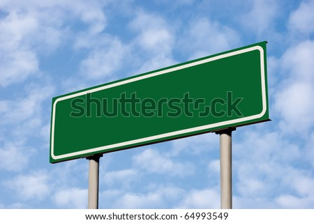 Blank Green Road Sign Against Light Cloudscape, Summer Sky And Clouds - stock photo