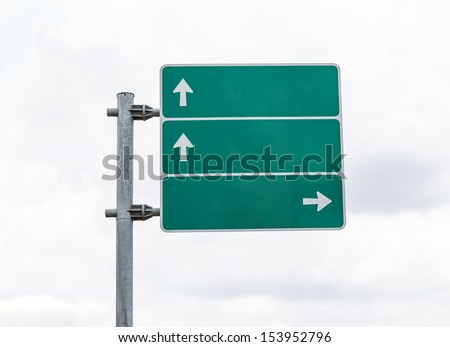 Blank Green Road Sign and Clouds blackground - stock photo