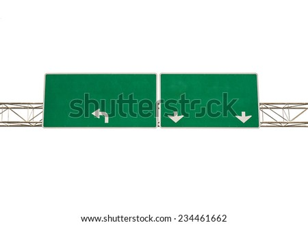 Blank Green Road Sign isolated on white background - stock photo