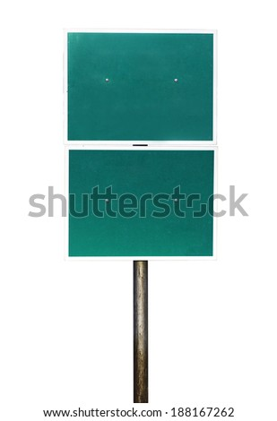 Blank Green Road Sign Isolated on white background with clipping path - stock photo