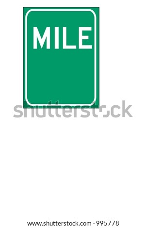 Blank Green Single digit mileage sign isolated on a white background - stock photo