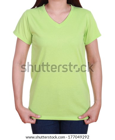 blank green t-shirt on woman isolated on white background