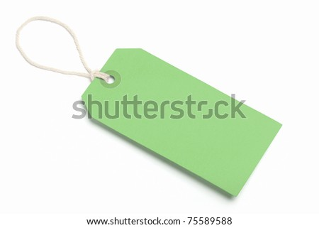 Blank Green Tag, Isolated On White. - stock photo