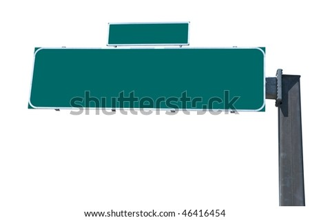 Blank green traffic billboard isolated on white background - stock photo