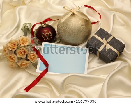 Blank greeting card and decoration - stock photo