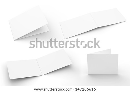 Blank Greeting Cards set isolated on white with soft shadows. 4 views. - stock photo