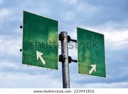 blank grunge signpost with blue sky - stock photo