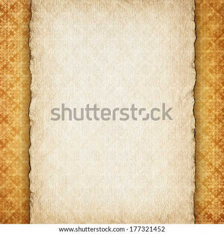 Blank handmade paper sheet on retro patterned background