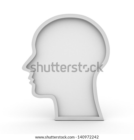 Blank head shape over white background - stock photo