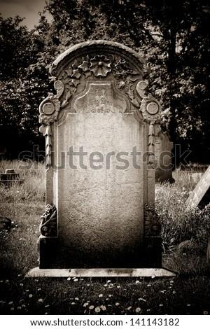 Blank headstone - stock photo