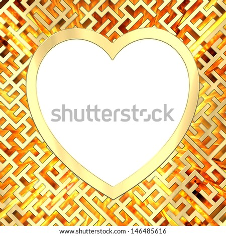 Blank heart shaped frame on maze background with flame. High resolution 3D image - stock photo