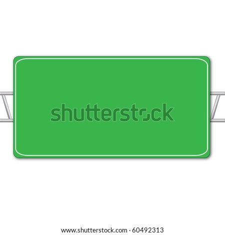 Blank Highway Sign Isolated on White - stock photo