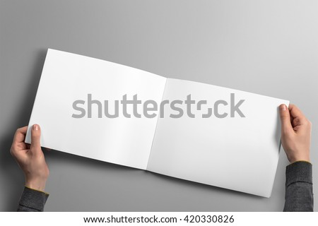 Blank horizontal brochure mockup on light grey background, 3D illustration.