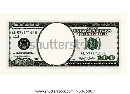 Blank hundred dollars bank note. Comix style - stock photo