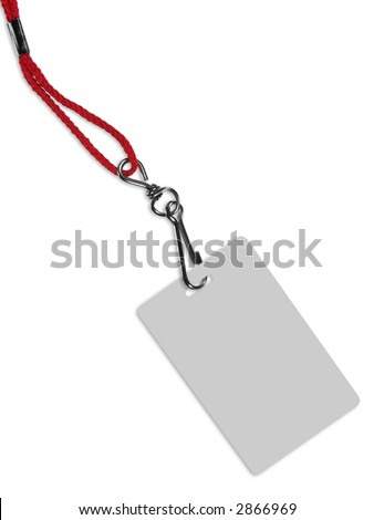 Blank ID card / badge with copy space, isolated on white. Contains clipping path of the card (without neckband) to change the color of the card. - stock photo