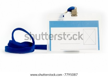 Blank ID card / badge with copy space  on a white background - stock photo