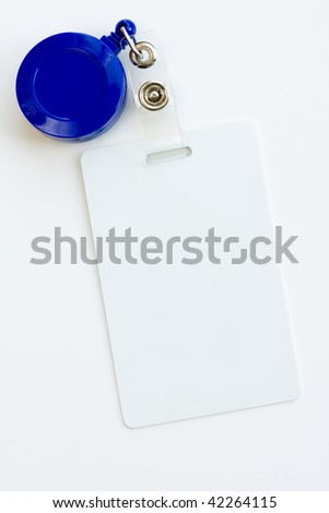 Blank ID card or badge isolated against white background - stock photo
