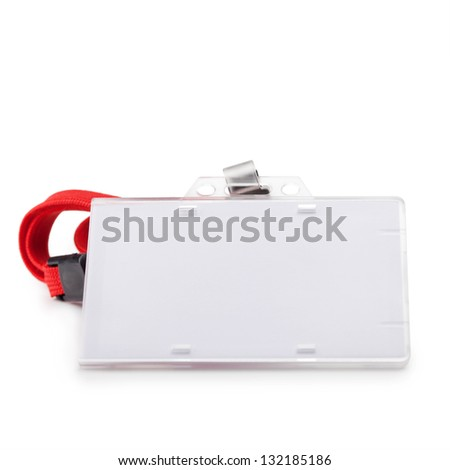Blank ID or security card with red neck strap isolated on white. For adding your message or corporate information of your choice. - stock photo