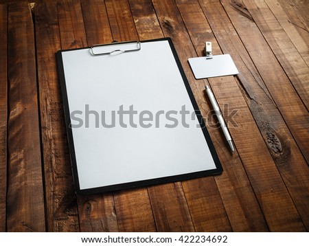 Blank ID template. Blank letterhead, badge and pen. Photo of blank stationery. Blank branding template. Mock-up for design presentations and portfolios.  - stock photo