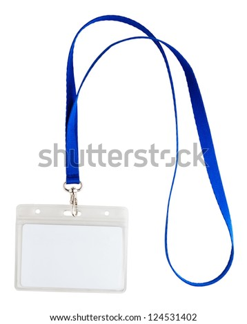 Blank identification card with blue neckband isolated on white - stock photo
