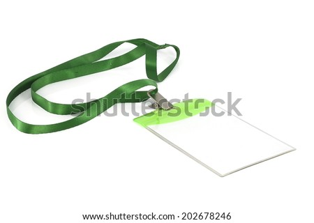 Blank identification card with green neckband on white background. - stock photo