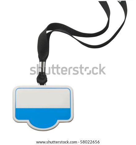 Blank identity badge on white with clipping path - stock photo