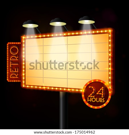 Blank illuminated billboard poster on black background  illustration - stock photo
