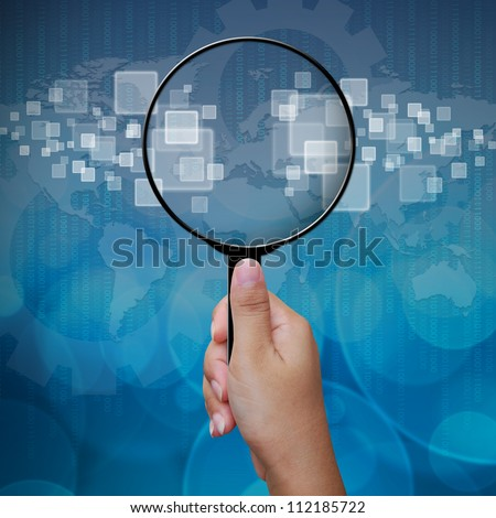 Blank in Magnifying glass screen interface on business background blue color - stock photo