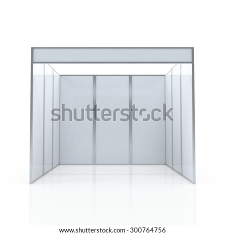 Blank Indoor Exhibition Trade Booth 3D render on white background, Template for easy presentation of a standard stand - stock photo