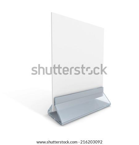 blank information desk stand on white background. 3d render illustration - stock photo
