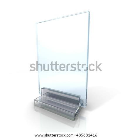 Blank Information Glass Holder On White Background. 3d Render Illustration