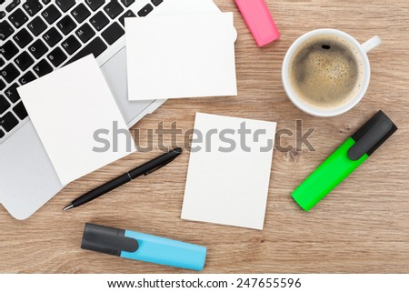 Blank instant photo frames over office table. View from above - stock photo