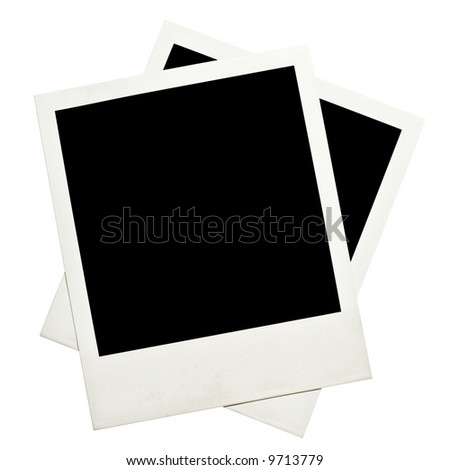Blank instant photos isolated on a white - stock photo