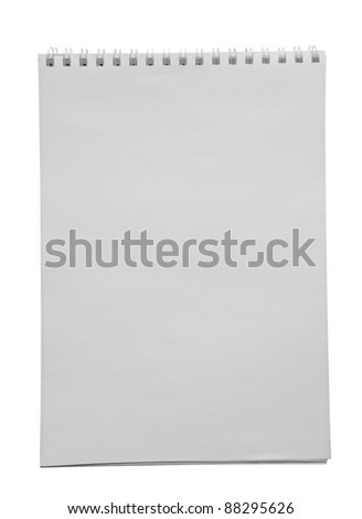 Blank isolated white notepad with clipping path
