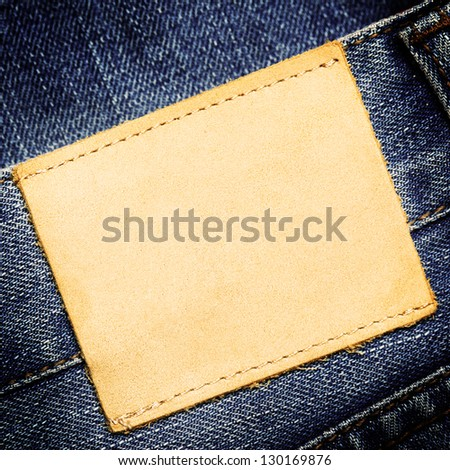 Blank jeans label - stock photo